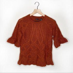 Moda International Peplum Sleeve Sweater Sz M